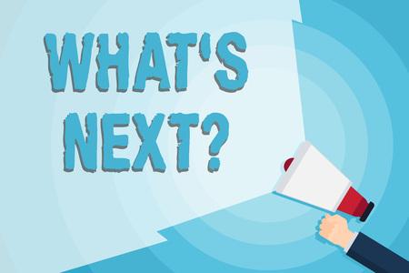 Wort schreiben Text Was S ist Nextquestion. Geschäftsfoto, das die Unsicherheit über den folgenden Plan oder die folgenden Aktionen zeigt, um ein Megaphon mit leerem Weitstrahl zur Erweiterung des Lautstärkebereichs zu halten