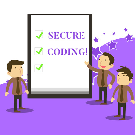 Handwriting text writing Secure Coding. Conceptual photo Applied to avoid the introduction of security vulnerabilities Business People Colleagues Discuss Missions Presentation Whiteboard Ticks Stock fotó