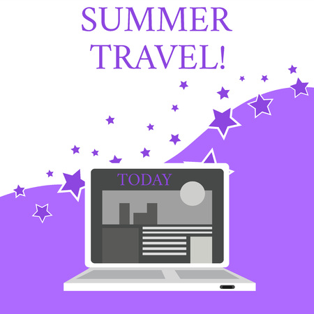 Text sign showing Summer Travel. Business photo text specific trip or journey usually for the purpose of recreation Open Modern Laptop Switched On with Website Homepage on Screen Web Search Banco de Imagens