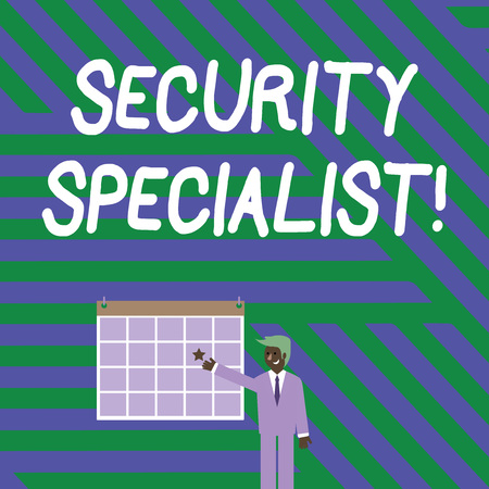 Handwriting text writing Security Specialist. Conceptual photo specializes in the security of showing assets or systems Businessman Smiling and Pointing to Colorful Calendar with Star Hang on Wall Stock Photo
