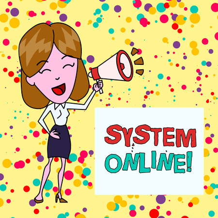 Conceptual hand writing showing System Online. Concept meaning when a device can readily communicate with other devices Young Woman Speaking in Blowhorn Colored Backgdrop Text Box