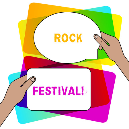 Handwriting text writing Rock Festival. Conceptual photo Largescale rock music concert featuring heavy metals genre Two Blank Figured Tablets Signs Held in Hands One Above Other Text Space 版權商用圖片
