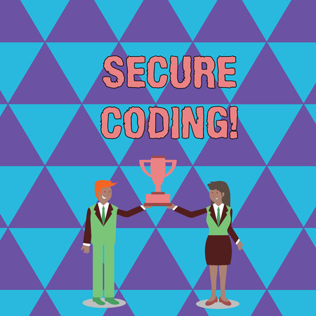 Conceptual hand writing showing Secure Coding. Concept meaning Applied to avoid the introduction of security vulnerabilities Man and Woman Business Suit Holding Championship Trophy Cup