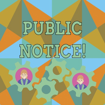 Text sign showing Public Notice. Business photo text Announcements widely disseminated through broadcast media Two Business People Each Inside Colorful Cog Wheel Gears for Teamwork Event Stock Photo