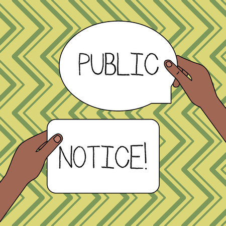 Word writing text Public Notice. Business photo showcasing Announcements widely disseminated through broadcast media Two Blank Figured Tablets Signs Held in Hands One Above Other Text Space