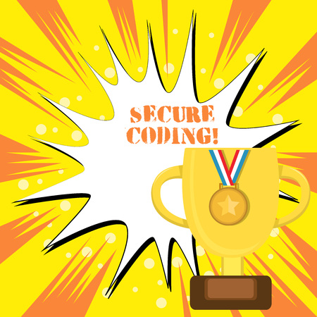Text sign showing Secure Coding. Business photo text Applied to avoid the introduction of security vulnerabilities Trophy Cup on Pedestal with Plaque Decorated by Medal with Striped Ribbon