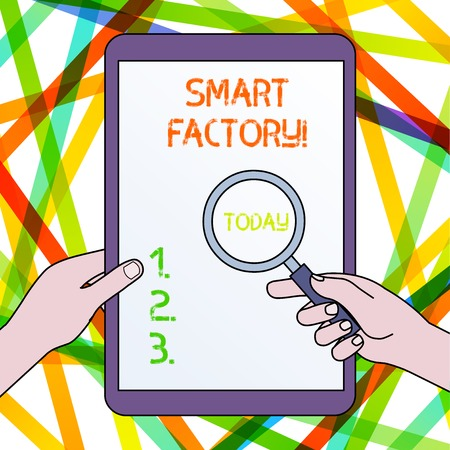 Handwriting text Smart Factory. Conceptual photo A highly digitized and connected production facility Hands Holding Magnifying Glass Against Switched Off Touch Screen Tablet