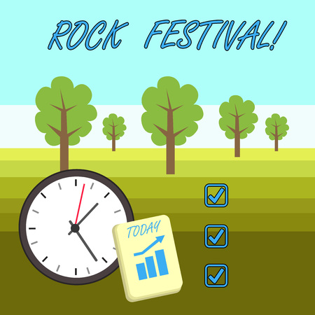 Word writing text Rock Festival. Business photo showcasing Largescale rock music concert featuring heavy metals genre Layout Wall Clock Notepad with Escalating Bar Graph and Arrow Pointing Up 版權商用圖片