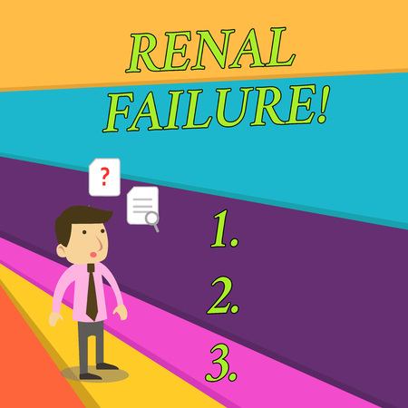 Handwriting text Renal Failure. Conceptual photo medical condition in which the kidneys no longer function Young Male Businessman Office Worker Standing Searching Problem Solution