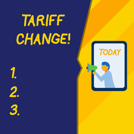 Text sign showing Tariff Change. Business photo text Changes on tax imposed on imported goods and services Stock fotó