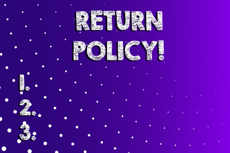 Text sign showing Return Policy. Business photo showcasing return or exchange defective merchandise that they buy before Lilac Violet Background White Polka Dots Scattered in Linear Perspective 免版税图像