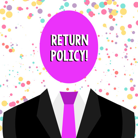 Word writing text Return Policy. Business photo showcasing return or exchange defective merchandise that they buy before Symbolic Drawing Emblematic Figure of Man Formal Suit Oval Faceless Head 免版税图像