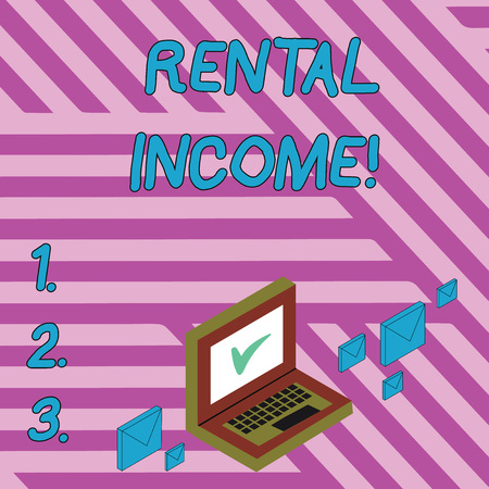 Handwriting text writing Rental Income. Conceptual photo amount of money collected by a landlord from a tenant Color Mail Envelopes around Laptop with Check Mark icon on Monitor Screen