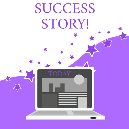 Text sign showing Success Story. Business photo text someone or something that has attain a goal Successful demonstrating Open Modern Laptop Switched On with Website Homepage on Screen Web Search
