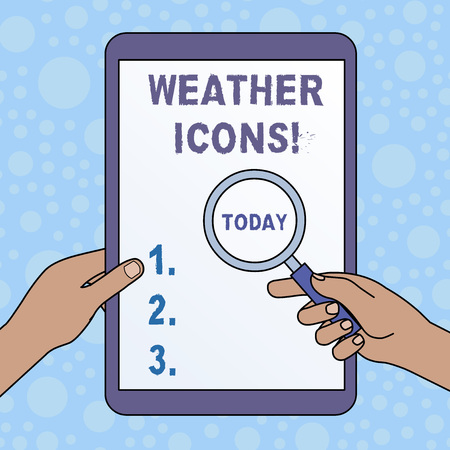 Word writing text Weather Icons. Business photo showcasing Plotted on a synoptic chart used for weather forecasting Hands Holding Magnifying Glass Against Switched Off Touch Screen Tablet