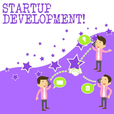 Text sign showing Startup Development. Business photo showcasing efficiently develop and validate scalable business model Businessmen Coworkers Conference Call Conversation Discussion Mobile Phones Stok Fotoğraf