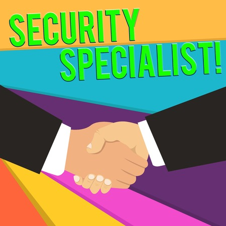 Handwriting text Security Specialist. Conceptual photo specializes in the security of showing assets or systems Hand Shake Multiracial Male Business Partners Colleagues Formal Black Suits Stock Photo