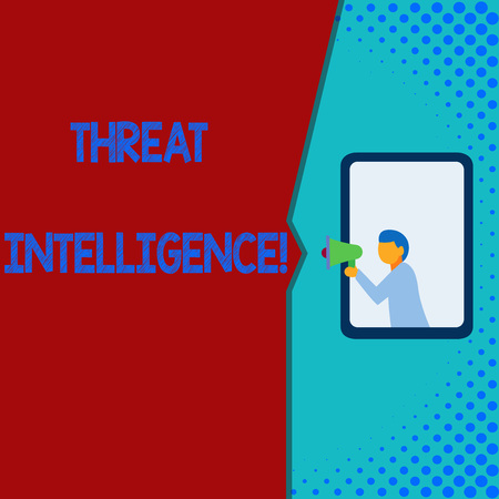 Writing note showing Threat Intelligence. Business concept for analyzed and refined information about potential attacks