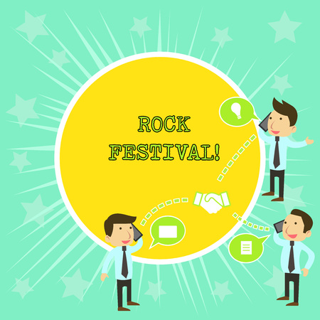 Text sign showing Rock Festival. Business photo showcasing Largescale rock music concert featuring heavy metals genre Businessmen Coworkers Conference Call Conversation Discussion Mobile Phones