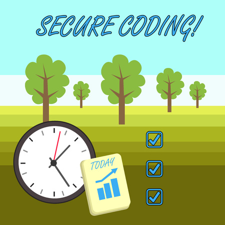 Word writing text Secure Coding. Business photo showcasing Applied to avoid the introduction of security vulnerabilities Layout Wall Clock Notepad with Escalating Bar Graph and Arrow Pointing Up
