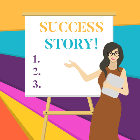 Word writing text Success Story. Business photo showcasing someone or something that has attain a goal Successful demonstrating White Female in Glasses Standing by Blank Whiteboard on Stand Presentation 版權商用圖片
