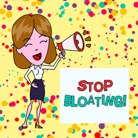 Conceptual hand writing showing Stop Bloating. Concept meaning to end the condition where your belly feels full and tight Young Woman Speaking in Blowhorn Colored Backgdrop Text Box Stock Photo