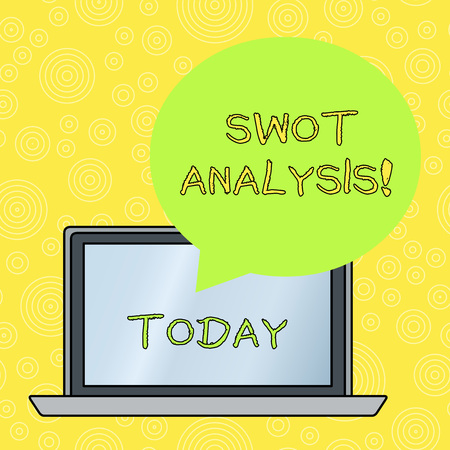 Word writing text Swot Analysis. Business photo showcasing framework used to evaluate a company s is competitive position Round Shape Empty Speech Bubble Floating Over Open Laptop Colored Backdrop
