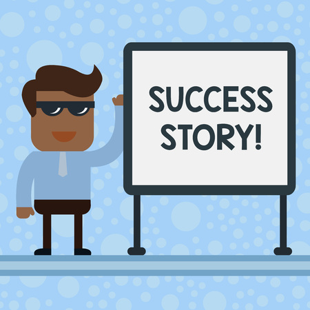 Conceptual hand writing showing Success Story. Concept meaning someone or something that has attain a goal Successful demonstrating Office Worker Sunglass Blank Whiteboard Meeting Presentation Stock Photo