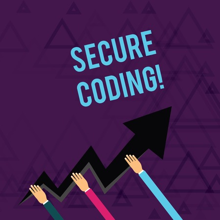 Writing note showing Secure Coding. Business concept for Applied to avoid the introduction of security vulnerabilities Hands Holding Zigzag Lightning Arrow Pointing and Going Up