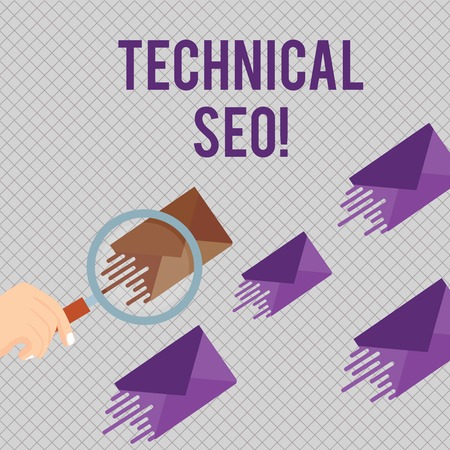 Conceptual hand writing showing Technical Seo. Concept meaning Optimization of website that doesn t involve the content part Magnifying Glass on Color Envelope and others has Same Shade