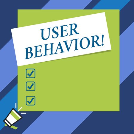 Text sign showing User Behavior. Business photo text focuses on user activity as opposed to static threat indicator