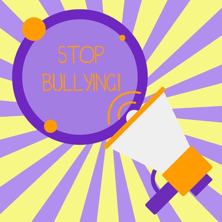 Handschrift Text schreiben Stoppen Sie Mobbing. Konzeptionelle Foto Stoppen Sie das aggressive Verhalten bei Kindern im Schulalter SpeakingTrompete Leere Runde streichelte Rede Text Ballon Ankündigung