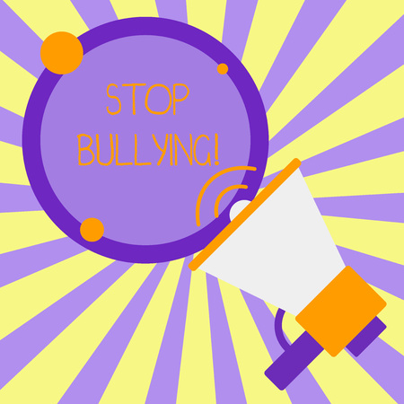 Handwriting text writing Stop Bullying. Conceptual photo stop the aggressive behaviour among school aged children SpeakingTrumpet Empty Round Stroked Speech Text Balloon Announcement