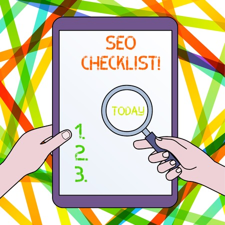 Handwriting text Seo Checklist. Conceptual photo list of items required to optimize the search engine Hands Holding Magnifying Glass Against Switched Off Touch Screen Tablet