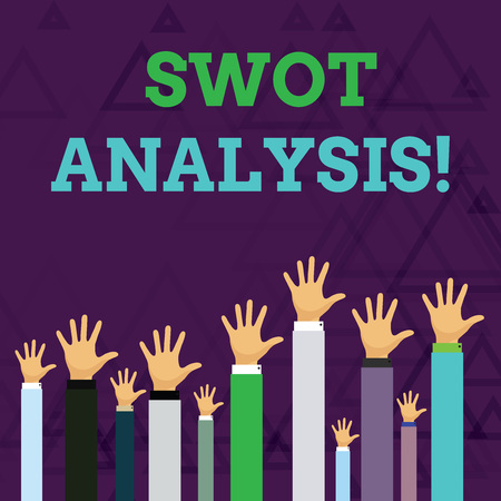 Text sign showing Swot Analysis. Business photo text framework used to evaluate a company s is competitive position Hands of Several Businessmen Raising Up Above the Head, Palm Facing Front