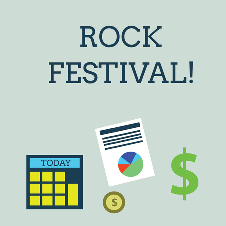 Conceptual hand writing showing Rock Festival. Concept meaning Largescale rock music concert featuring heavy metals genre Dollar Investment in Gold and Presenting Data thru Pie Chart