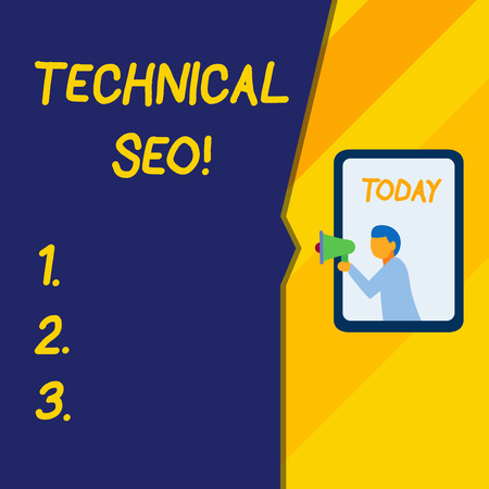 Text sign showing Technical Seo. Business photo text Optimization of website that doesn t involve the content part