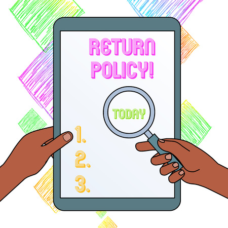 Writing note showing Return Policy. Business concept for return or exchange defective merchandise that they buy before Hands Holding Magnifying Glass Against Switched Off Touch Screen Tablet