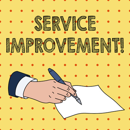 Word writing text Service Improvement. Business photo showcasing continuous actions that lead to better service or system Male Hand Formal Suit Holding Ballpoint Pen Blank Piece of Paper Writing 版權商用圖片