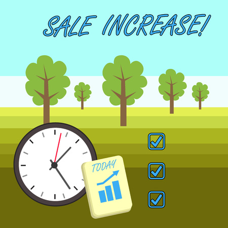 Word writing text Sale Increase. Business photo showcasing amount a company derives from sales compared to a previous Layout Wall Clock Notepad with Escalating Bar Graph and Arrow Pointing Up