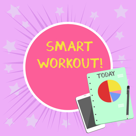 Conceptual hand writing showing Smart Workout. Concept meaning set a goal that maps out exactly what need to do in being fit Layout Smartphone Off Ballpoint Notepad Business Pie Chart
