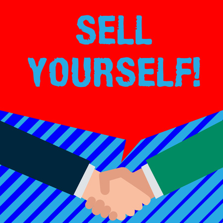 Word writing text Sell Yourself. Business photo showcasing to make yourself seem impressive or notable to other showing Two persons have bubbly conversation while greet each other and shake hands