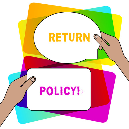 Handwriting text writing Return Policy. Conceptual photo return or exchange defective merchandise that they buy before Two Blank Figured Tablets Signs Held in Hands One Above Other Text Space