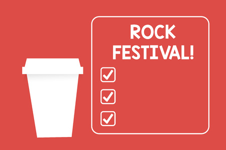 Word writing text Rock Festival. Business photo showcasing Largescale rock music concert featuring heavy metals genre Blank Coffee Tea Paper Cup in White Empty Square Frame Copy Space in Red