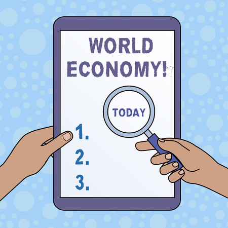 Word writing text World Economy. Business photo showcasing way in which countries economy have been emerging to operate Hands Holding Magnifying Glass Against Switched Off Touch Screen Tablet