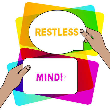 Handwriting text writing Restless Mind. Conceptual photo A demonstrating who overthinks Inability to remain at rest Uneasy Two Blank Figured Tablets Signs Held in Hands One Above Other Text Space Stock Photo - 123791323
