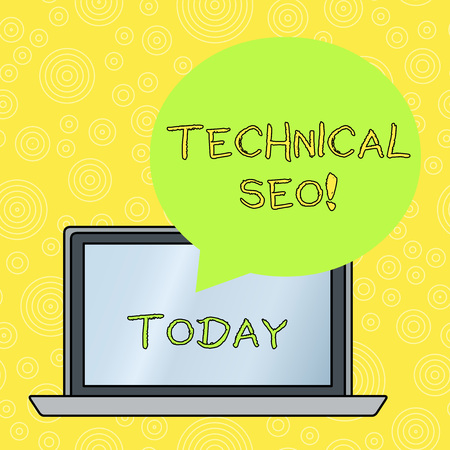 Word writing text Technical Seo. Business photo showcasing Optimization of website that doesn t involve the content part Round Shape Empty Speech Bubble Floating Over Open Laptop Colored Backdrop