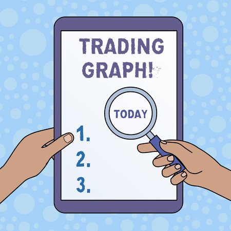 Word writing text Trading Graph. Business photo showcasing Represent the highs and lows of the trading period and price Hands Holding Magnifying Glass Against Switched Off Touch Screen Tablet