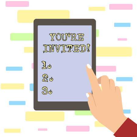 Conceptual hand writing showing You Re Invited. Concept meaning You are happily encouraged to attend and event or a party Female Hand with Polished Nails Pointing Tablet Screen Off