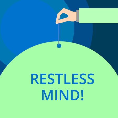 Word writing text Restless Mind. Business photo showcasing A demonstrating who overthinks Inability to remain at rest Uneasy Stock Photo